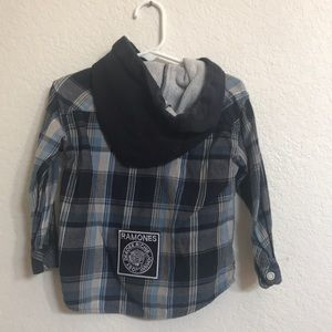Ramones Upcycled Quiksilver flannel shirt 2T